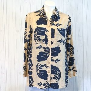 Soft Surroundings Tan Navy Floral Linen Tunic Top
